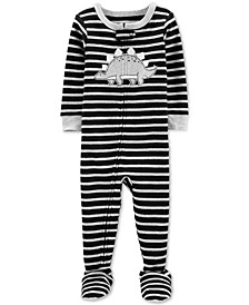 Toddler Boys 1-Pc. Striped Dinosaur Cotton Pajama