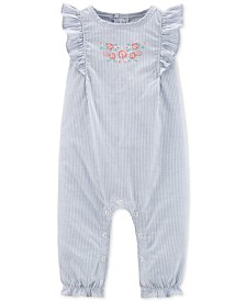 Baby Girls Striped Cotton Jumpsuit