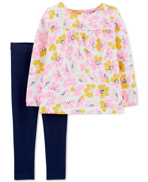 Carter's Toddler Girls 2-Pc. Floral-Print Top & Leggings Set