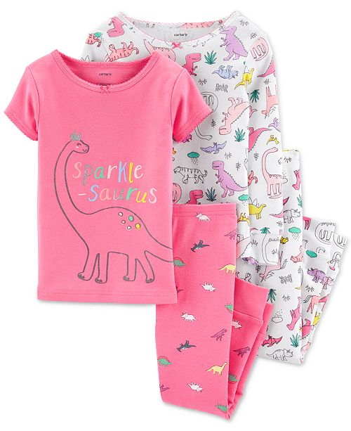 Carter's Baby Girls 4-Pc. Cotton Sparkle-Saurus Dinosaur Pajama Set