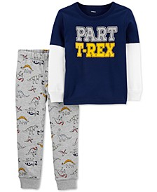 Baby Boys 2-Pc. Cotton T-Rex-Print T-Shirt & Printed Pants Set