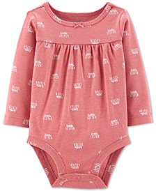 Baby Girls Little Sister-Print Cotton Bodysuit