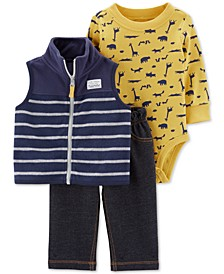 Baby Boys 3-Pc. Striped Vest, Animal-Print Bodysuit & Jeans Set