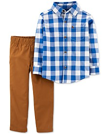 Carter's Baby Boys 2-Pc. Cotton Checkered Button-Front Top & Canvas Pants Set
