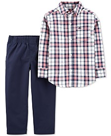 Carter's Baby Boys 2-Pc. Cotton Plaid Button-Front Top & Pants Set
