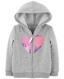 Toddler Girls Sequin Heart Zip-Up Fleece Hoodie