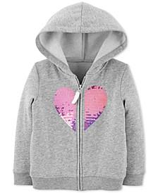 Toddler Girls Sequin Heart Zip-Up Fleece Hoodie