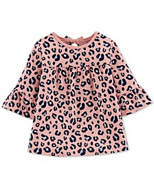 Toddler Girls Cotton Bell Sleeve Leopard-Print Top