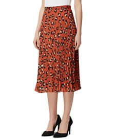 Tahari ASL Cheetah-Print Pleated Skirt