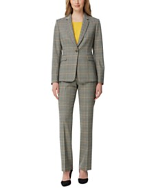 Tahari ASL Plaid Blazer, Pleated Top & Straight-Leg Pants