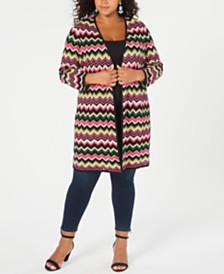I.N.C. Plus Size Metallic Chevron Open-Front Cardigan, Created for Macy's