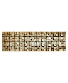 "'Textured 2' Metallic Handed Painted Rugged Wooden Blocks Wall Sculpture - 72"" x 22"""