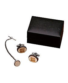 Lillian Rose Best Man Wood Cufflinks and Tie Tack Set