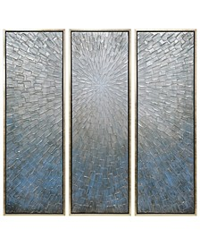 "Silver Ice 3-Piece Textured Metallic Hand Painted Wall Art Set by Martin Edwards, 60"" x 20"" x 1.5"""