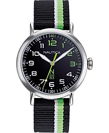 N83 Men's NAPWLS913 Wakeland Black/Green Stripe Fabric Strap Watch