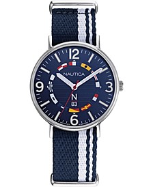 N83 Men's NAPWGS902 Wave Garden Blue/White Stripe Fabric Slip-Thru Strap Watch