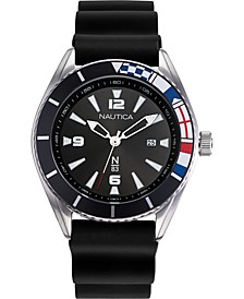 N83 Men's NAPUSS901 Urban Surf Black/Silver Silicone Strap Watch