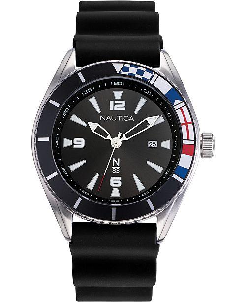 Nautica N83 Men's NAPUSS901 Urban Surf Black/Silver Silicone Strap Watch