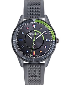 N83 Men's NAPSPS902 Surf Park Gray/Green Silicone Strap Watch