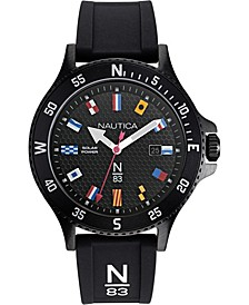N83 Men's NAPCBS907 Cocoa Beach Solar Black/Flags Silicone Strap Watch