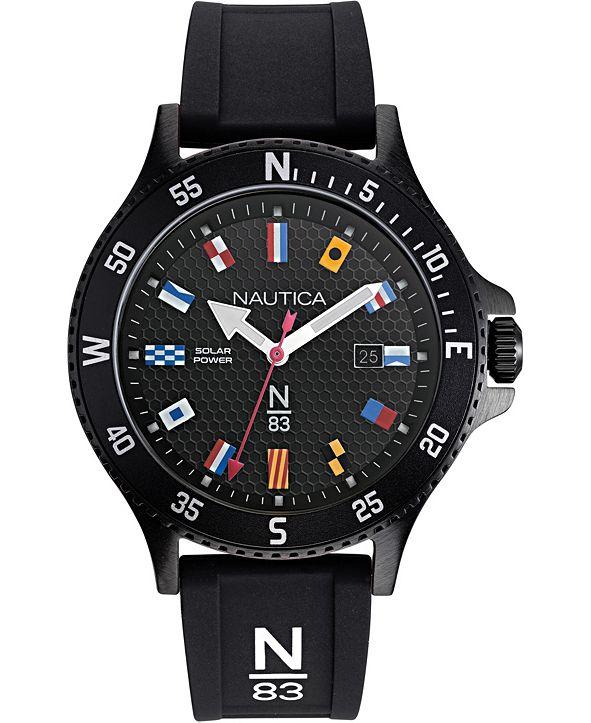 Nautica N83 Men's NAPCBS907 Cocoa Beach Solar Black/Flags Silicone Strap Watch