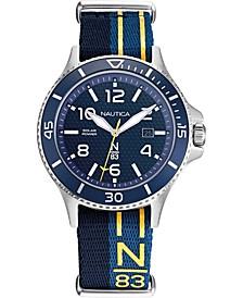 N83 Men's NAPCBS902 Cocoa Beach Solar Blue/Yellow Fabric Slip-Thru Strap Watch