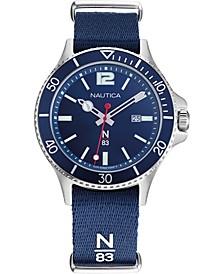 N83 Men's NAPABS904 Accra Beach Blue/Silver Fabric Slip-Thru Strap Watch