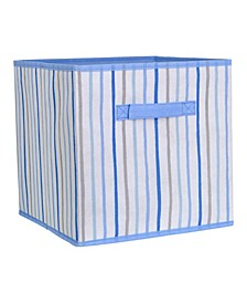 Kids Collapsible Storage Cube in Painterly Blue Stripe
