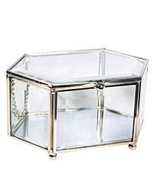 Vintage Mirrored Bottom Diamond Shape Glass Keepsake Box in Silver
