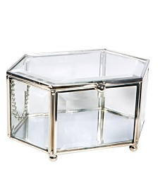 Home Details Vintage Mirrored Bottom Diamond Shape Glass Keepsake Box in Silver