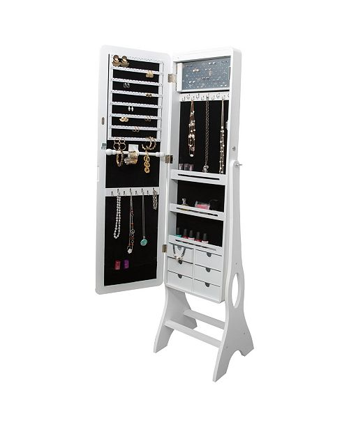 Simplify Jewelry Armoire with Edge to Edge Full Length Mirror, Free Standing Cabinet