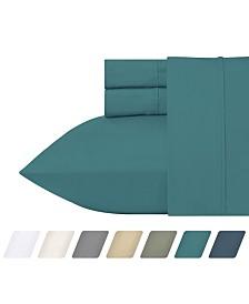 California Design Den 300 Thread Count Cotton 4-Piece Percale Sheet Set, Queen