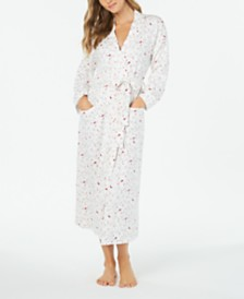 Charter Club Women's Cotton Knit Cardinal-Print Robe, Created for Macy's