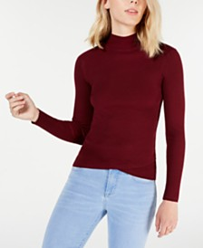 Juniors' Mock-Turtleneck Tulip-Hem Sweater