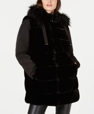 Via Spiga Womens Plus Size Down Coat with Faux Fur Collar
