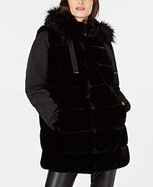 Faux-Fur Puffer-Sleeve Hooded Coat