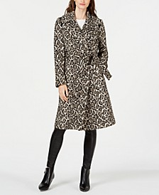 Animal-Print Belted Coat