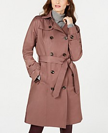 Double-Breasted Water Resistant Hooded Trench Coat, Created for Macy's