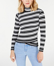 Juniors' Striped Crossover-Hem Mock-Neck Sweater