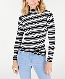 Juniors' Striped Crossover-Hem Mock-Neck Sweater