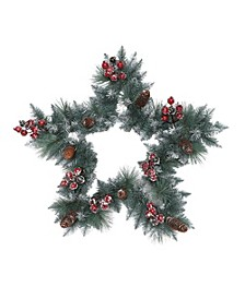 International 30 inch Sterling Pine Star Artificial Wreath with Silver Glitter