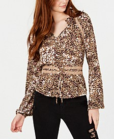 Animal-Print Corset Peasant Top, Created for Macy's