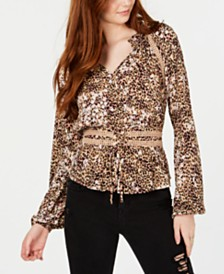 American Rag Animal-Print Corset Peasant Top, Created for Macy's