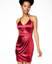 Teeze Me Juniors' Satin Strappy-Back Dress