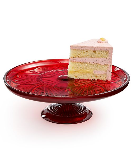 Martha Stewart Collection Royal Blush Glass Cake Stand, Created for Macy's