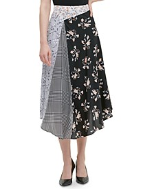 Pieced-Print Asymmetrical Midi Skirt