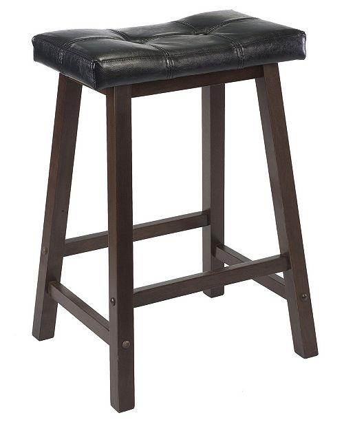 """Winsome Wood Mona 24"""" Cushion Saddle Seat Stool"""