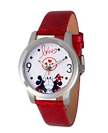 EwatchFactory Women's Disney Mickey And Minnie Mouse Red Strap Watch 38mm