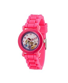 Girl's Disney Princess Ariel, Belle, Rapunzel, Cinderella Pink Plastic Time Teacher Strap Watch 32mm