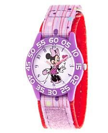 EwatchFactory Girl's Disney Minnie Mouse Purple Plastic Time Teacher Strap Watch 32mm